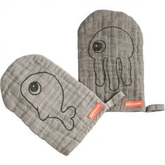 Lot de 2 gants de toilette Sea Friends gris
