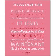 Tableau de prière Je vous salue Marie rose (33 x 41 cm)