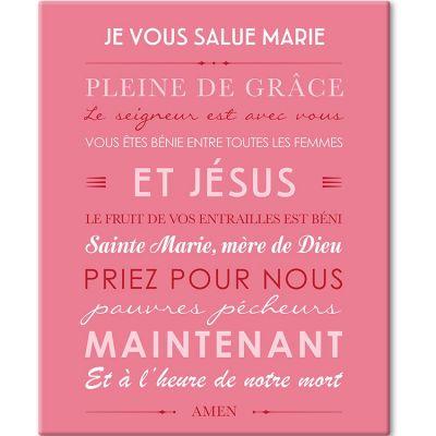 Tableau de prière Je vous salue Marie rose (33 x 41 cm)  par Mes Mots Déco
