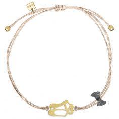 Bracelet cordon rose Mini Coquine ballerine (vermeil doré)