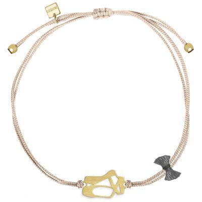 Bracelet cordon rose Mini Coquine ballerine (vermeil doré)  par Coquine