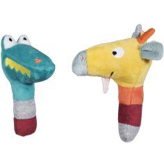 Lot de 2 hochets crocodile et girafe Jungle Boogie (13 cm)