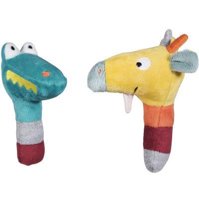 Lot de 2 hochets crocodile et girafe Jungle Boogie (13 cm)  par Ebulobo