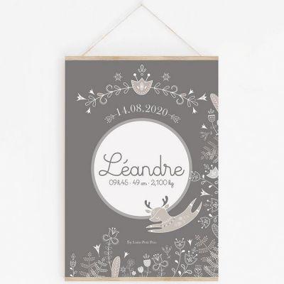Affiche de naissance A2 Petit renne gris avec support (personnalisable)  par Lutin Petit Pois