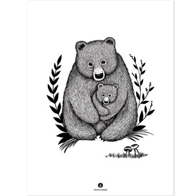 Affiche ours Family bear (30 x 40 cm)  par Lilipinso