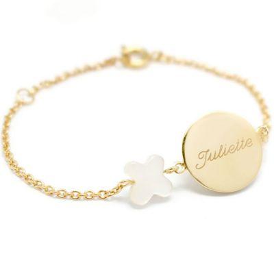Bracelet Lovely nacre papillon (plaqué or jaune et nacre)  par Petits trésors