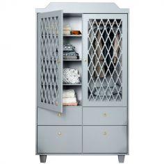 Armoire 2 portes + 4 tiroirs Harlequin grise
