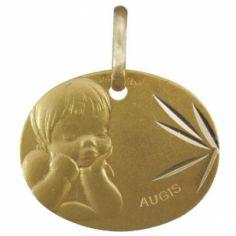 Médaille ovale Ange rêveur 16 mm facettée (or jaune 750°)