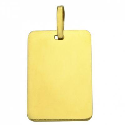 Plaque rectangulaire unie à graver 17 x 12 mm (or jaune 750°)  par Premiers Bijoux