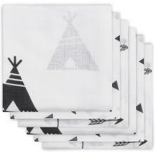 Lot de 6 langes hydrophiles Indians noir et blanc (70 x 70 cm)  par Jollein