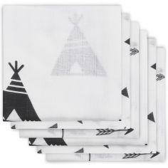 Lot de 6 langes hydrophiles Indians noir et blanc (70 x 70 cm)