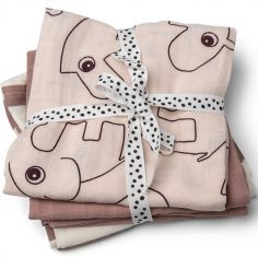 Lot de 3 langes Deer Friends rose (70 x 70 cm)
