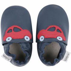 Chaussons en cuir Soft soles bleu marine voiture rouge (9-15 mois)