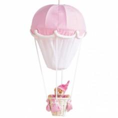 Lampe montgolfière Rose et blanc