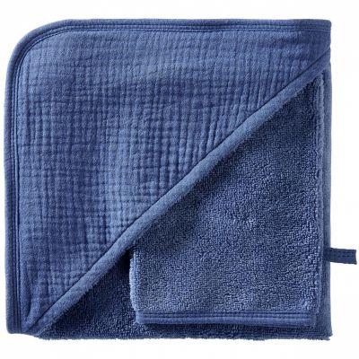 Cape de bain + gant en bambou indigo blush Mix & Match (70 x 70 cm)  par BB & Co