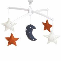 Mobile musical Lune rouille (mélodie au choix)