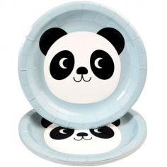 Lot de 8 assiettes en carton Miko le panda