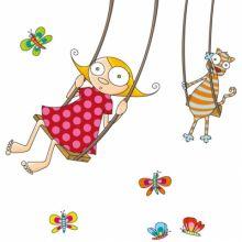 Stickers muraux Balançoire petite fille  par Série-Golo