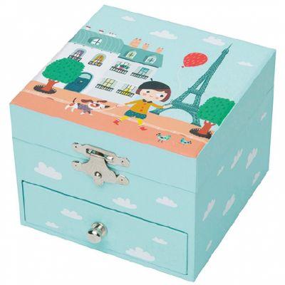 Coffret à bijoux musical cube Ninon parisienne  par Trousselier