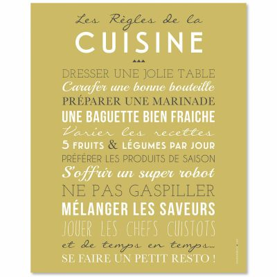 affiche encadrer kitchen jaune 40 x 50 cm par mes mots d co. Black Bedroom Furniture Sets. Home Design Ideas