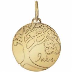 Médaille de naissance Inès personnalisable 17 mm (or jaune 750°)