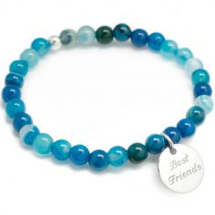 Bracelet de perles bleu personnalisable (argent 925° et agate)