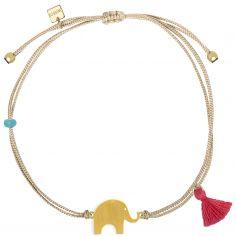Bracelet cordon beige Nature éléphant (vermeil doré)
