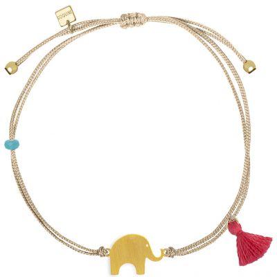 Bracelet cordon beige Nature éléphant (vermeil doré)  par Coquine