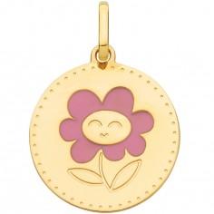 Pendentif rond fleur rose 15 mm (or jaune 750°)