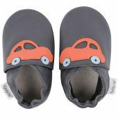 Chaussons en cuir Soft soles bleu marine voiture orange (15-21 mois) - Bobux
