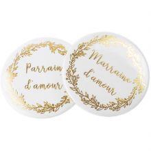 Lot de 2 badges Parrain et Marraine d'amour  par Arty Fêtes Factory