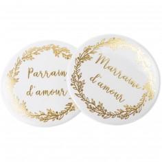 Lot de 2 badges Parrain et Marraine d'amour