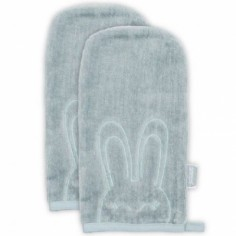 Lot de 2 gants de toilette Sweet bunny gris vert