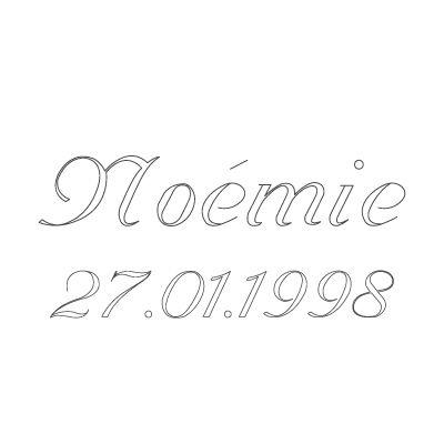 Gravure prénom + date sur médaille (Typo 6 Vanessa)  par Gravure magique
