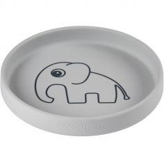 Assiette en silicone grise Elphee l'éléphant
