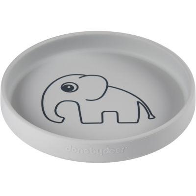 Assiette en silicone grise Elphee l'éléphant  par Done by Deer
