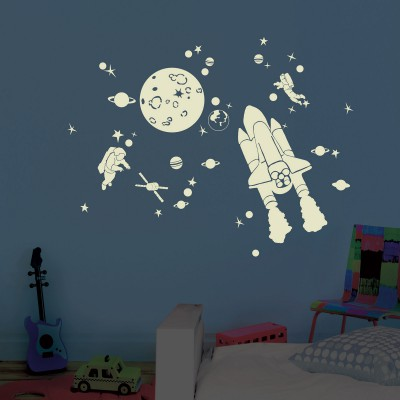 Stickers mural phosphorescent Space kit