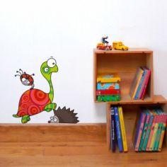 Sticker mural Hérisson, coccinelle et tortue