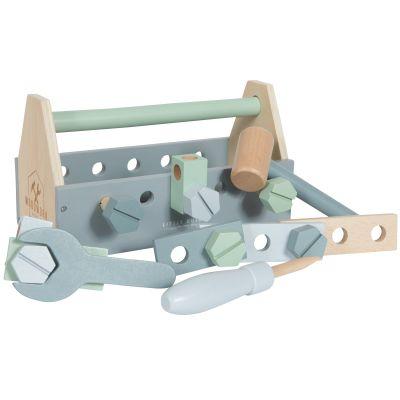Boîte à outils en bois blue (20 pièces)  par Little Dutch