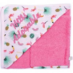Cape de bain brodée et son gant de toilette Miss Adorable imprimé exotique