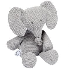 Peluche en tricot Tembo l'éléphant gris (32 cm)