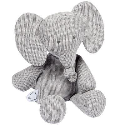 Peluche en tricot Tembo l'éléphant gris (32 cm)  par Nattou