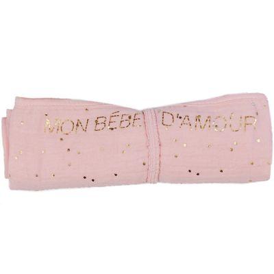 Lange en coton Mon bébé d'amour rose à pois dorés (70 x 70 cm)  par BB & Co