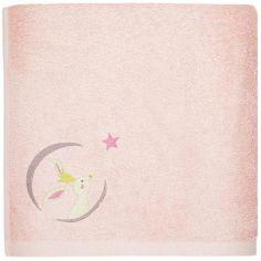 Serviette de bain rose Lapin personnalisable (50 x 100 cm)