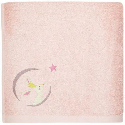 Serviette de bain rose Lapin personnalisable (50 x 100 cm)  par L'oiseau bateau