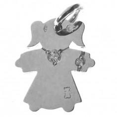 Pendentif petite fille ou petit garçon collier et bracelet diamant 17 mm (or blanc 750°)