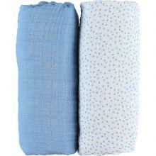 Lot de 2 draps housses coton bio Aston & Jack chien bleu (60 x 120 cm)  par Noukie's