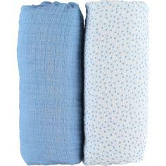 Lot de 2 draps housses coton bio Aston & Jack chien bleu (60 x 120 cm)
