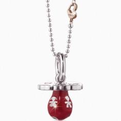 Bola sur chaîne tétine Suonamore Colorati émail rouge (argent 925° et plaqué or rose)