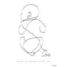 Affiche de naissance Bébé sur le ventre A4 (personnalisable)
